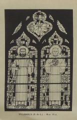 Ateliers de fabrication de vitraux, dits Ateliers Lorin - Français:   photographie de vitrail dans le catalogue de Charles Lorin et Cie (années 1930),  Villemeux-sur-Eure, Eure-et-Loir, France. Représentations de saint Benoit et saint Eyroult.