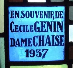 Ateliers de fabrication de vitraux, dits Ateliers Lorin - Français:   GAILLON - Eglise Saint-Ouen - vitrail de Charles Lorin - 1937 - donatrice