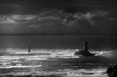 Phare de la Vieille - English: Lighthouse 'Phare de la Vieille', Finisterre/Brittany, France; converted to B&W
