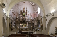 Chapelle Sainte-Eugénie -  Chapel configuration dedicated to Eucharistic adoration: Choir grandstand formed by an altar and an altarpiece developed in gallery. On the platform a eucharistic tower houses a monstrance surrounded by angels thurifers.