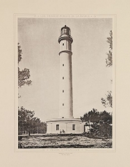 Phare - English:   Title: Phare d\'Arcachon  Alternative Title: Arcachon Lighthouse  Creator: Unknown  Date: 1883  Series: Tome Cinquieme: Phares et Balises  Place: Lege-Cap-Ferret, Gironde, France  Description: The full title of the five-volume set is, Les travaux publics de la France par MM. F. Lucas et V. Fournie - Ed. Collignon - H. de Lagrene - Voisin Bey - E. Allard. Ouvrage publie sous les auspices de Ministere des travaux publics et sous la direction de M. Leonce Reynaud. This photograph is one of 50 plates in Public Works of France, Volume Five: Lighthouses and Beacons.  Physical Description: 1 photographic print: collotype; 35 x 26 cm on 56 x 40 cm mount  File: vault_folio_2_ta71_a4_1883_5_45_opt.jpg  Rights: Please cite DeGolyer Library, Southern Methodist University when using this file. A high-resolution version of this file may be obtained for a fee. For details see the https://sites.smu.edu/cul/degolyer/research/permissions/ web page. For other information, contact degolyer@smu.edu.  For more information, see: http://digitalcollections.smu.edu/cdm/ref/collection/eaa/id/1049   View the http://digitalcollections.smu.edu/all/cul/eaa/