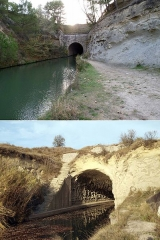 Tunnel-aqueduc de drainage de l'étang de Colombiers et Montady ou tunnel des Moines ou Aqueduc de Montady ou Aqueduc de Malpas - Français:   Tunnel du Malpas sur le canal du Midi (Hérault)