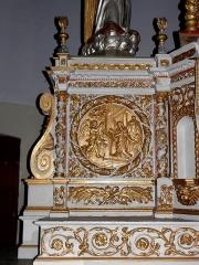 Église Notre-Dame - Français:   Maître-autel de l\'église Notre-Dame d\'Hédé (35). Médaillon. L\'Annonciation.