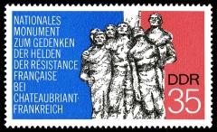 Monument aux fusillés - This stamp is in the public domain in Germany because it was released by the postal administration of the German Democratic Republic or the Soviet occupation zone (Deutschen Post der DDR) whose legal successor is the Federal Republic of Germany. Thus it is an official work according to German copyright law (§ 5 Abs. 1 UrhG).