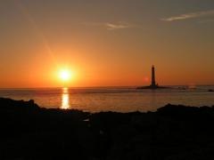 Phare de la Hague ou de Goury - English: Lighthouse of La Hague at sunset (in Normandie, France).