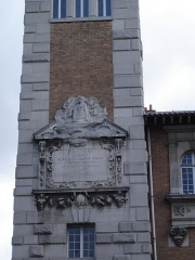 Institut océanographique -  Institut océanographique of Paris. Detail of commemorative plate on the tower, in honor of his  Majesty Albert 1st of Monaco.