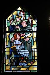 Couvent de franciscains dit Saint-François -  Bleiglasfenster in der Kapelle (Seitenschiff) des Couvent des Franciscains in Paris (7, rue Marie-Rose im 14. arrondissement), Darstellung: der hl. Ludwig erhält als Kind von einem Franziskanermönch Unterricht