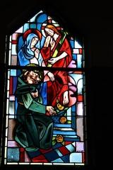 Couvent de franciscains dit Saint-François -  Bleiglasfenster in der Kapelle (Seitenschiff) des Couvent des Franciscains in Paris (7, rue Marie-Rose im 14. arrondissement), Darstellung: Maria, Jesus und der hl. Franz von Assisi