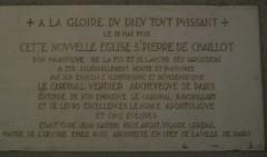 Eglise Saint-Pierre de Chaillot - Français:   Plaque 1938