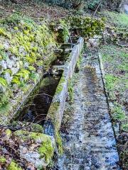 Fontaine-lavoir et abreuvoir - Français:   Fontaine-abreuvoir à quatre bacs. Le Val de Saint Dizier. Saint-Dizier-l\'Evêque. Territoire de Belfort.