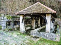 Fontaine-lavoir et abreuvoir - Français:   Fontaine-lavoir du Val. Saint-Dizier-l\'Evêque. Territoire de Belfort.