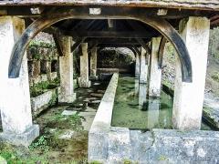 Fontaine-lavoir et abreuvoir - Français:   Fontaine-lavoir du Val. saint-Dizier-l\'Evêque.Territoire de Belfort.