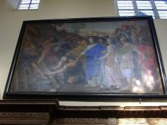 Abbaye - Abbaye Saint-Pierre d'Hautvillers (Marne, France), intérieur de l'église Saint-Sindulphe: tableau de l'invention de la Vraie Croix
