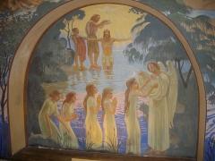 Eglise Saint-Nicaise - Intérieur de l'église Saint-Nicaise de Reims (Marne, France): le baptistère, orné par Maurice Denis en 1934; baptême du Christ