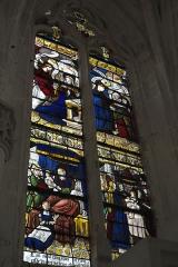 Eglise Notre-Dame-en-sa-Nativité - Deutsch: Katholische Kirche Notre-Dame-en-sa-Nativité in Puellemontier im Département Haute-Marne (Champagne-Ardenne/Frankreich), Bleiglasfenster von 1527; Darstellung: Geburt Marias (links unten), Verkündigung (links oben), Heimsuchung (rechts oben), Präsentation Jesu im Tempel (rechts unten)