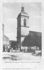 Eglise - Français:   Carte postale ancienne  Jeu de croquet sur la place de l\'Église de Dancevoir, Haute-Marne, France