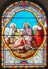 Eglise - Français:   Vitrail de la Sainte Famille dans l\'église de Coursegoules