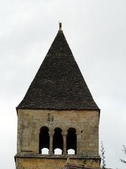 Eglise Saint-Léonce - Français:   Le clocher de l\'église Saint-Léonce, Saint-Léon-sur-Vézère, Dordogne, France.