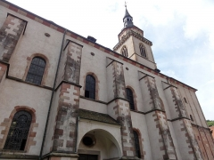 Eglise Saint-Pierre-et-Paul dite Sainte-Richarde -  Alsace, Bas-Rhin, Église Saints-Pierre-et-Paul dite Sainte-Richarde (PA00084587, IA00115010).  Clocher et partie de la nef.