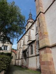 Eglise Saint-Pierre-et-Paul dite Sainte-Richarde -  Alsace, Bas-Rhin, Andlau, Église Saints-Pierre-et-Paul dite Sainte-Richarde (PA00084587, IA00115010).  Façade sud.