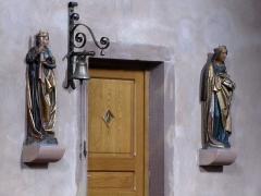 Eglise Sainte-Trophime et quatre statues en bois sculptées - Alsace, Bas-Rhin, Église Saint-Trophime d'Eschau (PA00084707, IA00023089).  Statue de Sainte Barbe (1500):       This object is classé Monument Historique in the base Palissy, database of the French furniture patrimony of the French ministry of culture,under the referencesPM67000071 and IM67000122. беларуская (тарашкевіца)| brezhoneg| català| Deutsch| English| español| suomi| français| magyar| italiano| македонски| Plattdüütsch| português| українська| +/−  Statue de Sainte Catherine d'Alexandrie (XVe):       This object is classé Monument Historique in the base Palissy, database of the French furniture patrimony of the French ministry of culture,under the referencesPM67000070 and IM67000123. беларуская (тарашкевіца)| brezhoneg| català| Deutsch| English| español| suomi| français| magyar| italiano| македонски| Plattdüütsch| português| українська| +/−