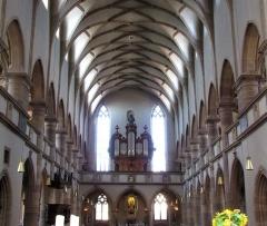 Ancienne église des Jésuites, ou église catholique Saint-Georges - Français:   Alsace, Bas-Rhin, Église Saint-Georges de Molsheim, ancienne église des Jésuites (1618) (PA00084798, IA67006097). Vue intérieure de la nef vers la tribune d\'orgue.
