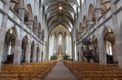 Ancienne église des Jésuites, ou église catholique Saint-Georges - Français:   Alsace, Bas-Rhin, Église Saint-Georges de Molsheim, ancienne église des Jésuites (1618) (PA00084798, IA67006097). Vue intérieure de la nef vers le chœur.