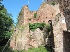 Ruines du château de Rathsamhausen - English: the castle's southwestern corner, protective measure