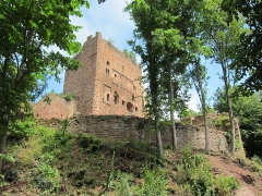 Ruines du château de Rathsamhausen - English: the castle seen from southwest, closest viewpoint when the castle area is closed