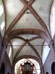 Ancienne église abbatiale -  Alsace, Bas-Rhin, Saint-Jean-Saverne, Église abbatiale Saint-Jean-Baptiste (PA00084921, IA00055618): Voûtes romanes de la nef.