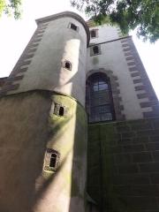 Ancienne église abbatiale -  Alsace, Bas-Rhin, Saint-Jean-Saverne, Église abbatiale Saint-Jean-Baptiste (PA00084921, IA00055618): Extérieur du clocher, cage d'escalier.