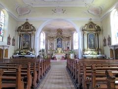Eglise Saint-Blaise -  Alsace, Bas-Rhin, Valff, Église Saint-Blaise (PA00085206, IA00024037): Vue intérieure de la nef vers le chœur.