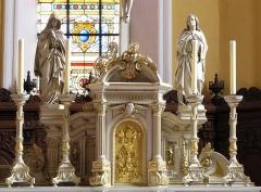 Eglise catholique Saints-Pierre-et-Paul - Français:   Alsace, Haut-Rhin, Église Saints-Pierre-et-Paul (XIIIe-XIXe) d\'Eguisheim (PA00085415,  IA68000505). Maître-autel (1877):      This object is indexed in the base Palissy, database of the French furniture patrimony of the French ministry of culture,under the referenceIM68005619. беларуская (тарашкевіца)| brezhoneg| català| Deutsch| English| español| suomi| français| magyar| italiano| македонски| Plattdüütsch| português| українська| +/−