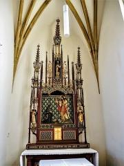 Eglise catholique Saint-Bernard-de-Menthon - Français:   Autel et retable de la chapelle latérale de l\'église