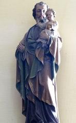 Eglise catholique Sainte-Colombe - Alsace, Haut-Rhin, Église Sainte-Colombe (XIIe-XVIIIe) de Hattstatt (PA00085456, IA68004258). Statue de Saint-Joseph et de l'enfant Jésus (XIXe):     This object is indexed in the base Palissy, database of the French furniture patrimony of the French ministry of culture,under the referenceIM68008675. беларуская (тарашкевіца)| brezhoneg| català| Deutsch| English| español| suomi| français| magyar| italiano| македонски| Plattdüütsch| português| українська| +/−