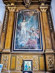 Chapelle Saint-Martin (chapelle du cimetière) - Français:   Autel avec retable représentant Saint-Sébastien.