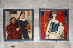 Eglise Notre-Dame -  Copy of the Diptych of Melun, made from the original by Jean Fouquet, representing Étienne Chevalier, adviser to King Charles VII, praying under the aegis of his patron saint, a breastfeeding virgin that some say is represented under the traces of Agnes Sorel, others, as was customary, in the guise of his wife Catherine Budé.