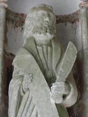 Eglise Notre-Dame de Rumengol - Français:   Saint-Barthélémy. Collège apostolique du porche sud de l\'église Notre-Dame-de-Rumengol au Faou (29).
