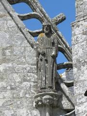 Chapelle de Saint-Tugen et abords - Statue de Saint-Matthieu. Porche sud de la chapelle Saint-Tugen en Primelin (29).