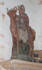 Chapelle du Moustoir - Français:   Statue de saint Théleau sur son cerf. Chapelle du Moustoir, commune de Rosporden, Finistère, Bretagne, France.