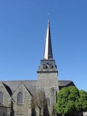 Eglise Saint-Crépin ou Saint-Crépinien - Français:   Tour-clocher et façade sud de l\'église Saint-Crépin et Saint-Crépinien de Rannée (35).