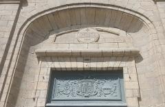 Basilique Saint-Sauveur - Français:   détail de la façade de l\'Église Saint-Sauveur de Rennes, dessus du portail