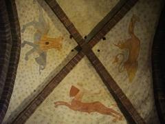 Eglise Saint-Gilles - Église Saint-Gilles de Malestroit (Morbihan, France), fresques romanes de la nef méridionale