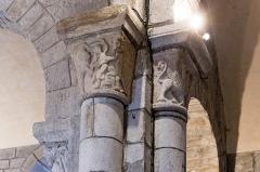 Eglise Saint-Jacques-le-Majeur - Français:   Chapiteau de l\'église Saint-Jacques-le-Majeur de Lanobre: l\'avare tourmenté par des démons.