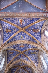 Eglise - English:  Buzet-sur-Tarn - Saint-Martin church - The ceiling of the nave by Damon.  RECTORE GUTIN, DAMON PINXIT  signature on the doubleau of the vault, between the first and the second span, during the 1860s. DAMON is a painter from Toulouse, inspired by a school of the Nazarenes, who seek to compose as Fra Angelico did.
