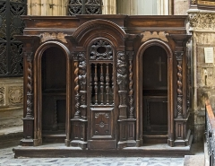 Cathédrale Saint-Etienne - English:  St Stephen's Cathedral of Toulouse - Chapel of relics - the confessional, oak seventeenth century (h = 215; l = 280 cmm).