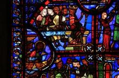 Cathédrale Saint-Etienne - English: Stained glass window in Cathédrale Saint-Étienne de Bourges - The Legend of Saint Thomas. Detail