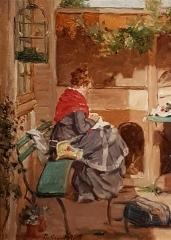 Ancien archevêché, actuellement musée des Beaux-Arts - Français:   Femme cousant dans un jardin - Philippe Grondard (1862-1928)