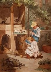 Ancien archevêché, actuellement musée des Beaux-Arts - Français:   Jeune fille cousant et fillette dans un jardin - Philippe Grondard (1862-1928)