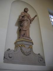 Ancien évêché, puis bibliothèque municipale, actuellement annexe de la médiathèque - Hôtel Dupanloup, ancien palais épiscopal, à Orléans (Loiret, France), statue dans l'escalier d'honneur